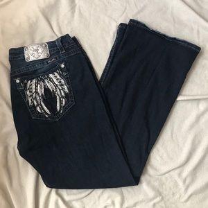 Miss Me Boot Cut Dark Wash Jeans Angel Pockets